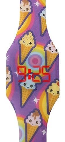 Digitale Uhr LED für Mädchen, Kinder und Jugendliche, Armbanduhr, aus weichen Silikon, ein stilvolles Geschenk, mit fröhliches Eis-Kegel, Kiddus