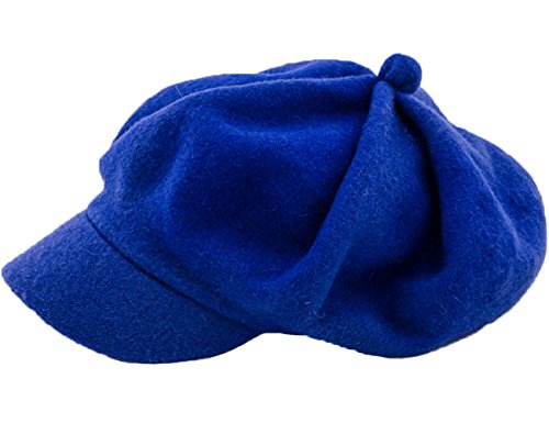 Newsboy Hüte Für Frauen (JOYHY Damen Winter Solide Wolle Newsboy Barett Cap Hut Mit Visier Blau)