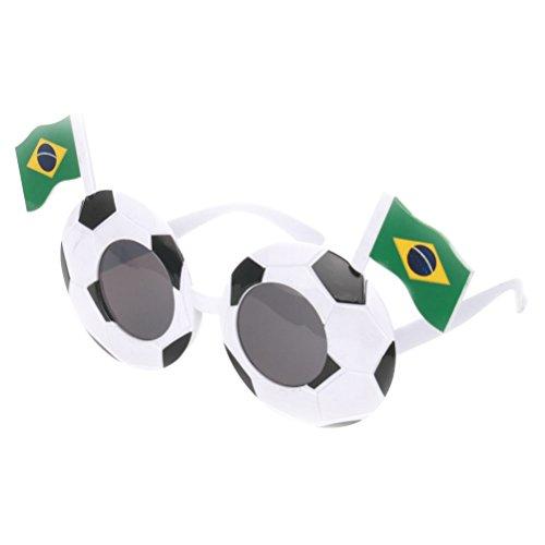 BESTOYARD Fussball Brille WM Brillen Partybrillen Kostüm Fußball Fanartikel Sonnenbrille mit Brasilien Flagge