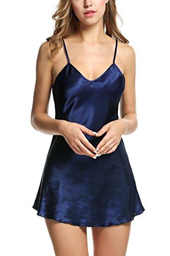 cooshional Damen Nachtkleid Negligee V-Ausschnitt klassischer ärmellos Pyjama Sleepshirt Schlafshirt Schlafhemd aus satin M-XXL Dunkel Blau