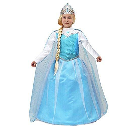 PICCOLI MONELLI Kostüm ELSA Frozen Mädchen Prinzessin Großbritannien Fasching Karneval 7 8 anni 107 cm spalla Terra blau