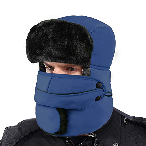 XIAOYAO Fliegermütze Wasserdicht mit Ohrenklappen,Warm Wintermütze Pilotenmütze Fellmütze für Herren und Damen (Marine)