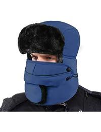 XIAOYAO Fliegermütze Wasserdicht mit Ohrenklappen,Warm Wintermütze Pilotenmütze Fellmütze für Herren und Damen