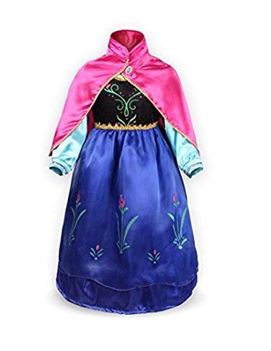 NICE SPORT Robes Enfant Princesse Anna La Reine des Neiges Cosplay Costume Déguisement Cadeau Anniversaire/Noël/Carnaval/Halloween - Bleu - Taille 120cm (4-5 ans)