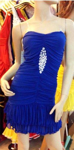 QIYUN.Z Tiered Rüschen Trägerlosen Stretch Bodycon Bling Pailletten Nacht Clubwear Kurzes Kleid Der Frauen Damen Kleider Königsblau