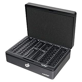 HMF 208-02 Geldkassette Euro-Münzbrett 25 x 18 x 9 cm, schwarz