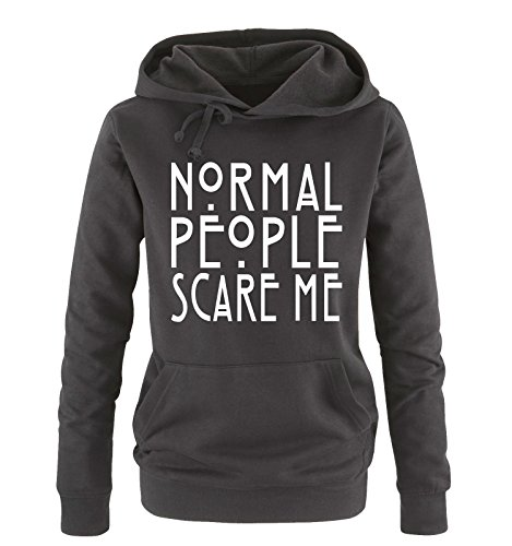 (Comedy Shirts - Normal People Scare Me - Damen Hoodie - Schwarz/Weiss Gr. M)