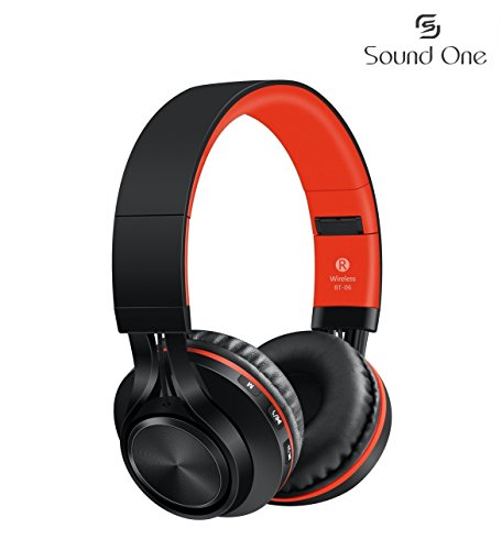 Sound One BT-06 Bluetooth Headphones Build in Microphone  with SD Card Function /FM Radio and Extra Audio Cable, Wireless Headphones (Red)