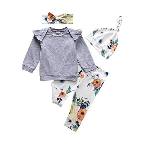 HINTINA Neugeborene Baby Säugling Baby Mädchen Kleidung, Sweatshirt + Blumendruckhose + Hut + Bogenstirnband, 4 STÜCKE Baby Kleidungs Set