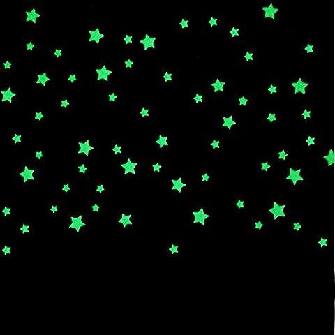 POTOBrand, 100PC niños dormitorio hermoso resplandor fluorescente en las oscuridad estrellas