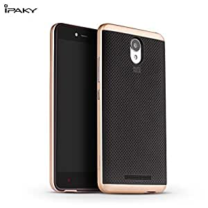 Original iPaky Brand Luxury High Quality Ultra-Thin Dotted Silicon Black Back + PC Gold Frame Bumper Back Case Cover For REDMI NOTE PRIME