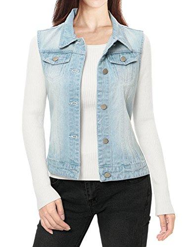 Allegra K Damen Knöpfe Gewaschener Ärmelloses Denim Jeansweste Jacke mit Klappentaschen Hellblau M (Gewaschen Womens Denim)