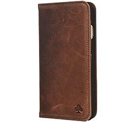 Porter Riley - Coque pour iPhone 8 Plus/iPhone 7 Plus. Housse Premium en Cuir véritable avec Socle Rabattable/Coque/Etui/Portefeuille (Brun Chocolat)