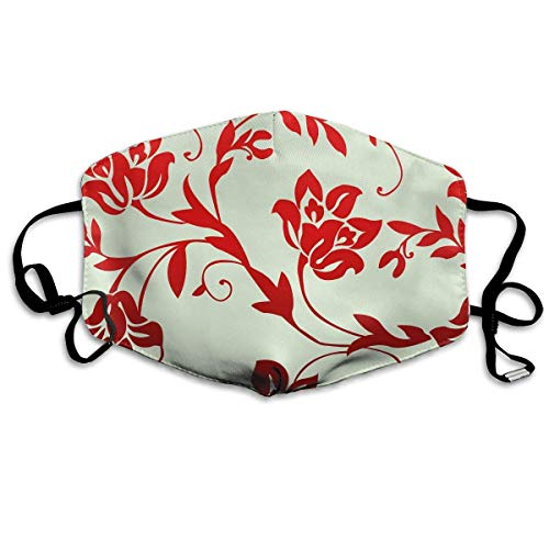 Zcfhike Anti Dust Pollution Mask Red Flowers Pattern Reusable Washable Earloop Face Mouth Mask Men Women
