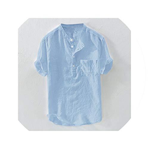 T-Shirt Männer Sommer Aus Reiner Baumwolle Hanf-Knopf Mit Kurzen Ärmeln Mode Große Bluse Top T, Himmelblau, M -