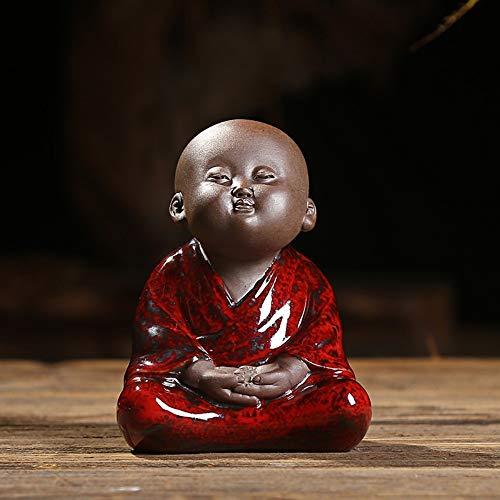 Kleine Buddha Statue, Mini Cute Mönch Statuette Für Zu Hause Schreibtisch Auto Dekoration, Chinesisch Handgefertigte Kleine Rote Keramik Figur Ornament Für Zen Meditation (Mini-keramik-figuren)