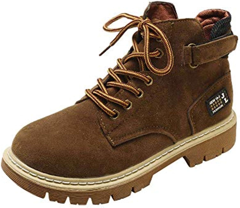 FuweiEncore Bottes Femmes Chaussures Casual Chaussures Automne et Ronde... Hiver Femmes Retro Décontracté Plat Tête Ronde... et 5b4669
