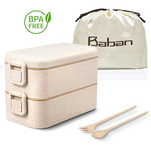 Baban Lunch Box bento Box/Scatole bento Impilabile Double Lock Catch Design contenitori/con Cucchiaio presentato Sacchetto Pranzo portaoggetti Seta