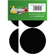 12 Klebepunkte, 100 mm, schwarz, aus PVC Folie, wetterfest, Markierungspunkte Kreise Punkte Aufkleber