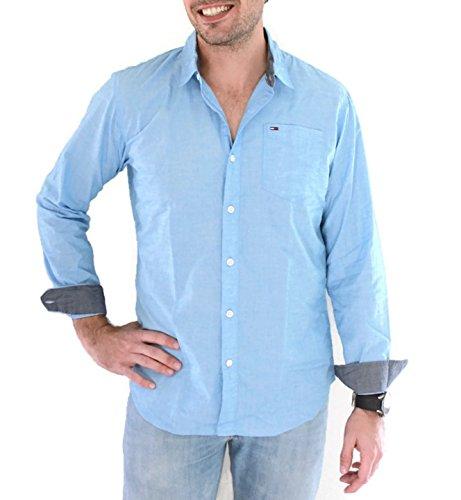 Tommy Jeans Hilfiger Denim Herren Regular Fit Freizeithemd Tjm Basic Solid  Shirt Blau (Indigo Bunting