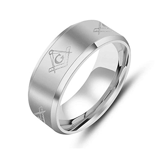 KIMCNB Schmuck 8mm Edelstahl einfacher freimaurerischen AG Logo Ring für Herren Ringe