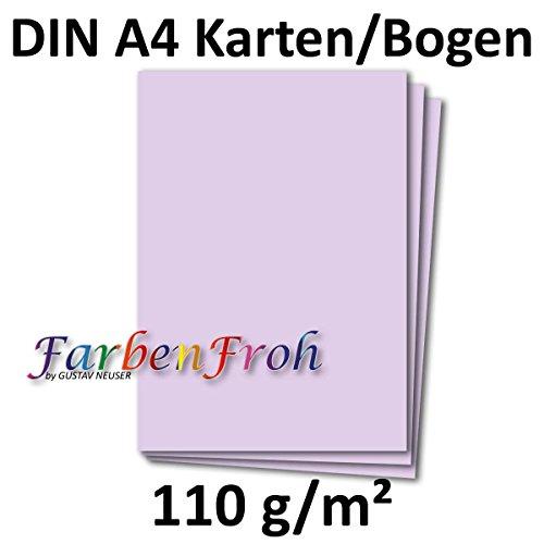 DIN A4 Papier Planobogen - Lila | 50 Stück | 110 g/m² | Bastelbogen - Briefpapier - Bastelkarte | 210 x 297 mm | formstabil | für Drucker geeignet | PREMIUM Qualitätsmarke: NEUSER FarbenFroh