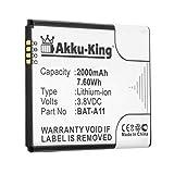 Akku-King Batterie remplace Acer BAT-A11 - Li-ION 2000mAh - pour Acer Liquid M330, M330 Dual SIM, M330 LTE, Z330, Z410, TM01