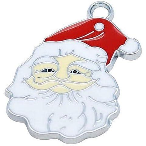 Pacco 5 x Bianco/Rosso Smalto 35mm Ciondoli Pendente (Babbo Natale Santa)