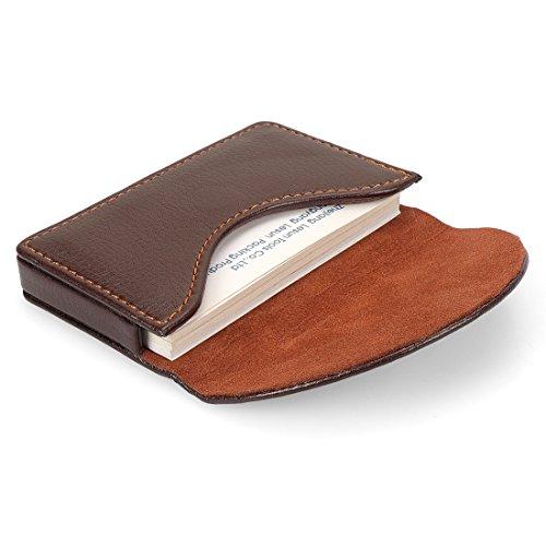 Yobansa PU-Leder-Visitenkartenhalter, Brieftasche, Kreditkarten, Visitenkarten, Namenskarten, Schutzhülle mit magnetischer Schnalle für Damen und Herren coffee