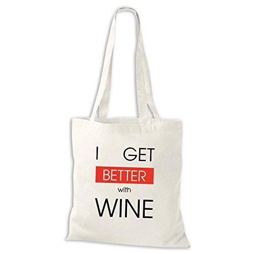 Shirtastic Baumwolltasche Jutebeutel I Get Better With Wine Wein Spaß Lustig Fun Stoffbeutel Weiß
