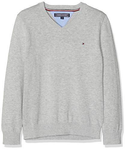 Tommy Hilfiger Jungen Boys Basic V-Neck Sweater Pullover, Grau (Grey Heather 004), 176 (Herstellergröße: 16)