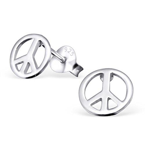 Peace Sign Ohrstecker-925Sterling Silber-Größe: 7mm x 7mm-Inklusive Geschenkbox-Die Rose & Silver Company-RS0008