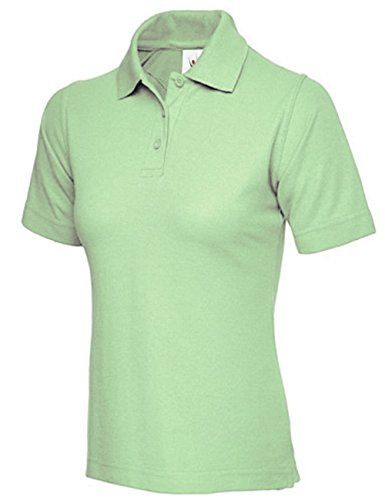 Damen Pique Polo Shirt Größe UK 8bis 26PLUS NEW Casual Sports Gym Arbeit Grün - Soft Lime