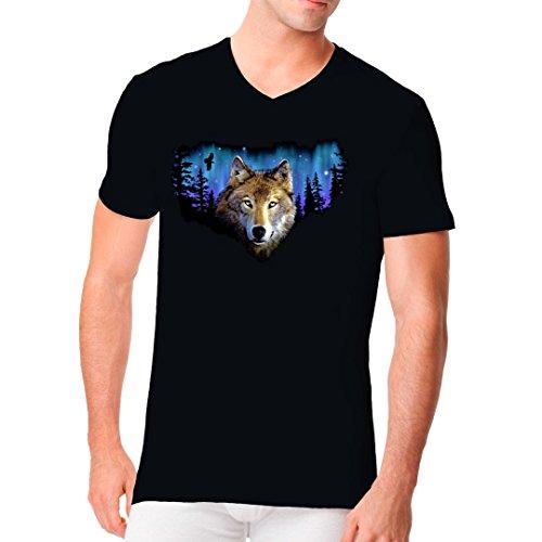 Im-Shirt - Natur Motiv: Wolf vor Nordlichtern cooles Fun Men V-Neck - verschiedene Farben Schwarz