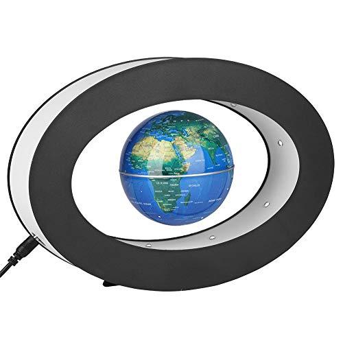 Floating Globus Magnetisch Elektronisch Rotierend Levitation Kugel LED Leuchten Pädagogisch Weltkarte für Geschenk Haus Büro Dekoration(Blau)
