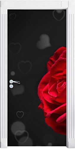 rose rosse per il giorno di San Valentino nero / bianco murale, Formato: 200x90cm, telaio della porta, adesivi porta, porta decorazione, autoadesivi del portello