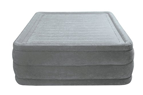 Intex 64418 Luftbett Comfort Plush High Rise Airbed Kit Queen, 230 V inklusive eingebauter Luftpumpe, 152 x 203 x 56 cm
