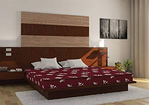 Centuary Mattresses The Smart Collection Flexi HR 5-inch King Size Foam Mattress (Maroon, 72x72x5) with One Impressa Bedsheet and 2 Pillow Covers