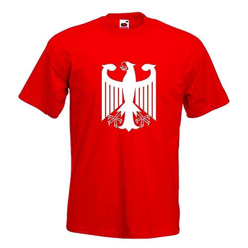 KIWISTAR - Bundeswappen Deutschland ohne Rahmen T-Shirt in 15 verschiedenen Farben - Herren Funshirt bedruckt Design Sprüche Spruch Motive Oberteil Baumwolle Print Größe S M L XL XXL Rot