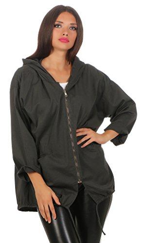 226 Damen Parka leichte Jacke dünne Übergangsjacke Kapuzenjacke 3/4 Ärmel mit Text Print auf dem Rücken Einheitsgröße Graphit