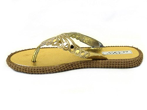 SKOS , Tongs pour femme Gold (UW669)