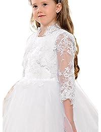 Boléro mariage enfant fille blanc dentelle