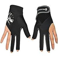 1 par de guantes de billar de 3 dedos para mano izquierda, mujer, color gris, tamaño Large