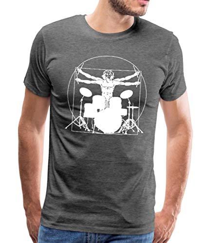 Spreadshirt Vitruvianischer Schlagzeuger Drummer Männer Premium T-Shirt, L, Anthrazit