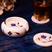 Hashcart Designer Coasters for Drinks-Hot & Cold/Carved Marble Coaster Sets with Holder/Dining, Tea & Coffee Table Decorative Cocktail Coasters.
