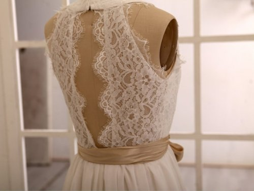 Lemandy Robe de mariée mousseline dentelle avec ceinture Ivoire