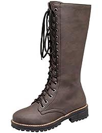 UH Damen Flache Schnürstiefeletten Kniehohe Stiefel mit Reißverschluss Bequeme Schuhe