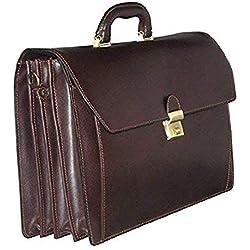 cartable en cuir 4 soufflets, 63033 - Marron - L41xH31xE18(cm)