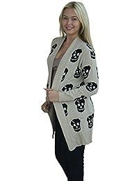 PaperMoon - Damen gestrickte offen schädel strickjacke pullover druck Top - 2 Farben - Größe 36-42