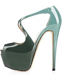 elashe- Scarpe da Donna - 15CM Scarpe col Tacco Peep Toe - Classiche Criss  Cross a80ba2559ac
